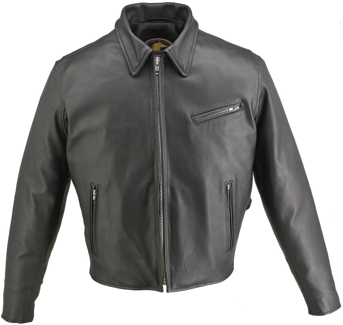 Cafe Racer Horsehide Leather Jacket- with collar