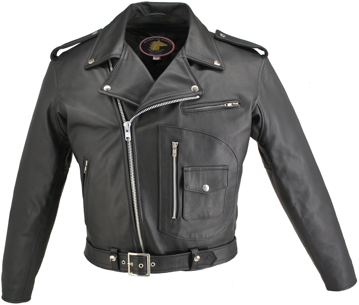 D Pocket Horsehide Motorcycle Jacket